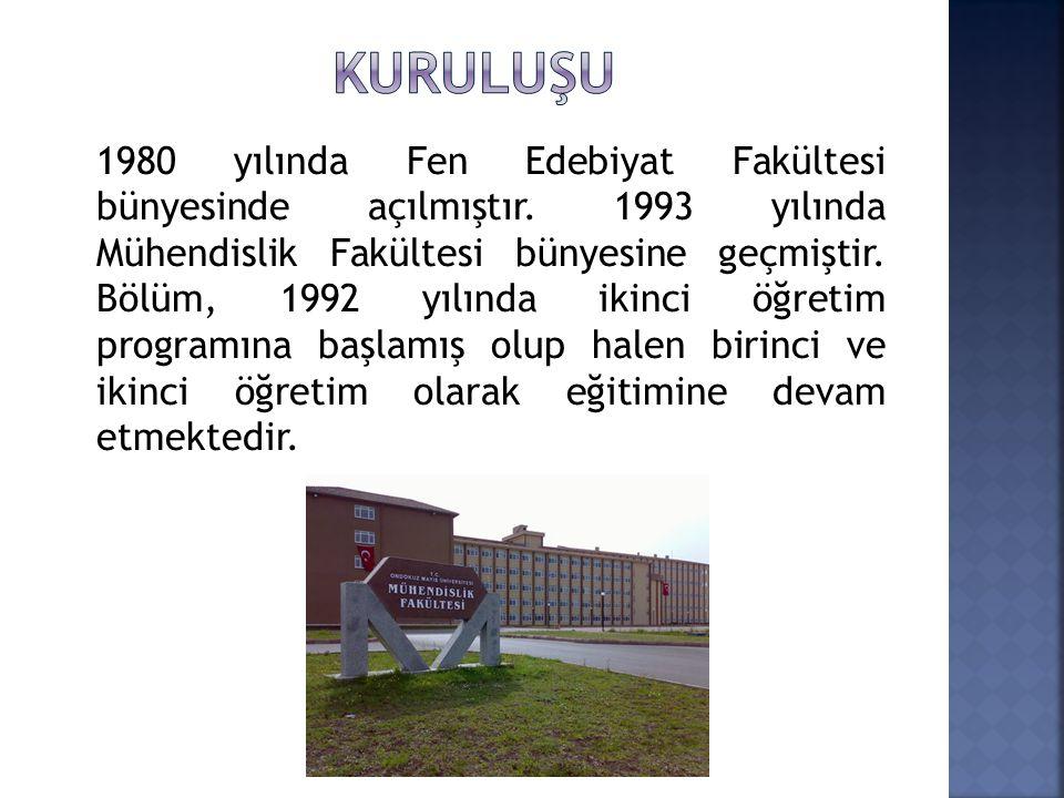 1980 yılında Fen Edebiyat Fakültesi bünyesinde açılmıştır. 1993 yılında Mühendislik Fakültesi bünyesine geçmiştir. Bölüm, 1992 yılında ikinci öğretim