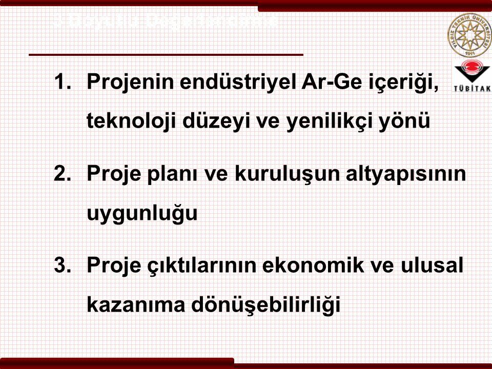 3 Boyutlu Değerlendirme 1.Projenin endüstriyel Ar-Ge içeriği, teknoloji düzeyi ve yenilikçi yönü 2.Proje planı ve kuruluşun altyapısının uygunluğu 3.Proje çıktılarının ekonomik ve ulusal kazanıma dönüşebilirliği