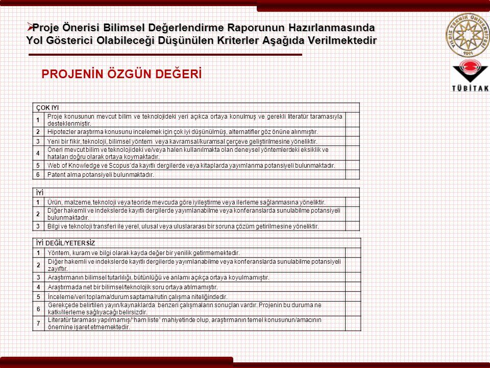  Proje Önerisi Bilimsel Değerlendirme Raporunun Hazırlanmasında Yol Gösterici Olabileceği Düşünülen Kriterler Aşağıda Verilmektedir ÇOK IYI 1 Proje k