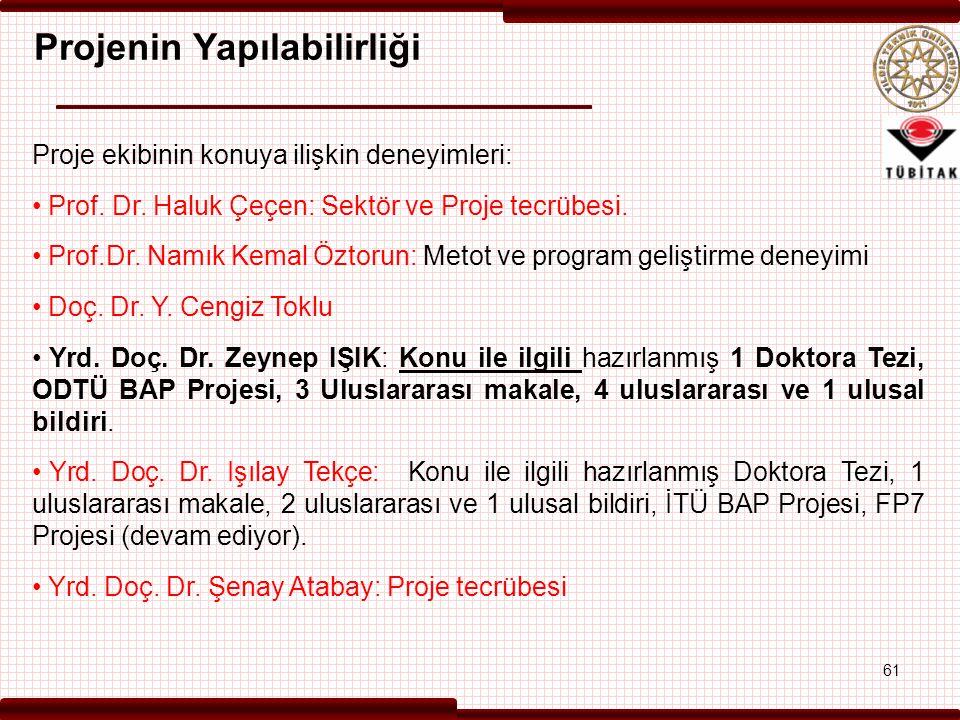 Projenin Yapılabilirliği Proje ekibinin konuya ilişkin deneyimleri: Prof. Dr. Haluk Çeçen: Sektör ve Proje tecrübesi. Prof.Dr. Namık Kemal Öztorun: Me