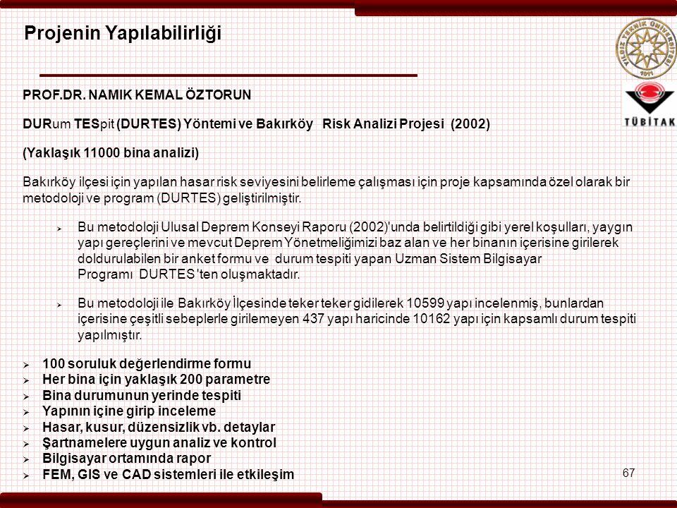 PROF.DR. NAMIK KEMAL ÖZTORUN DURum TESpit (DURTES) Yöntemi ve Bakırköy Risk Analizi Projesi (2002) (Yaklaşık 11000 bina analizi) Bakırköy ilçesi için