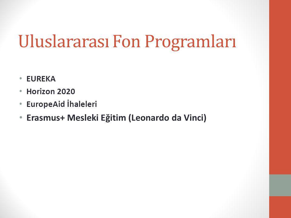 Uluslararası Fon Programları EUREKA Horizon 2020 EuropeAid İhaleleri Erasmus+ Mesleki Eğitim (Leonardo da Vinci)