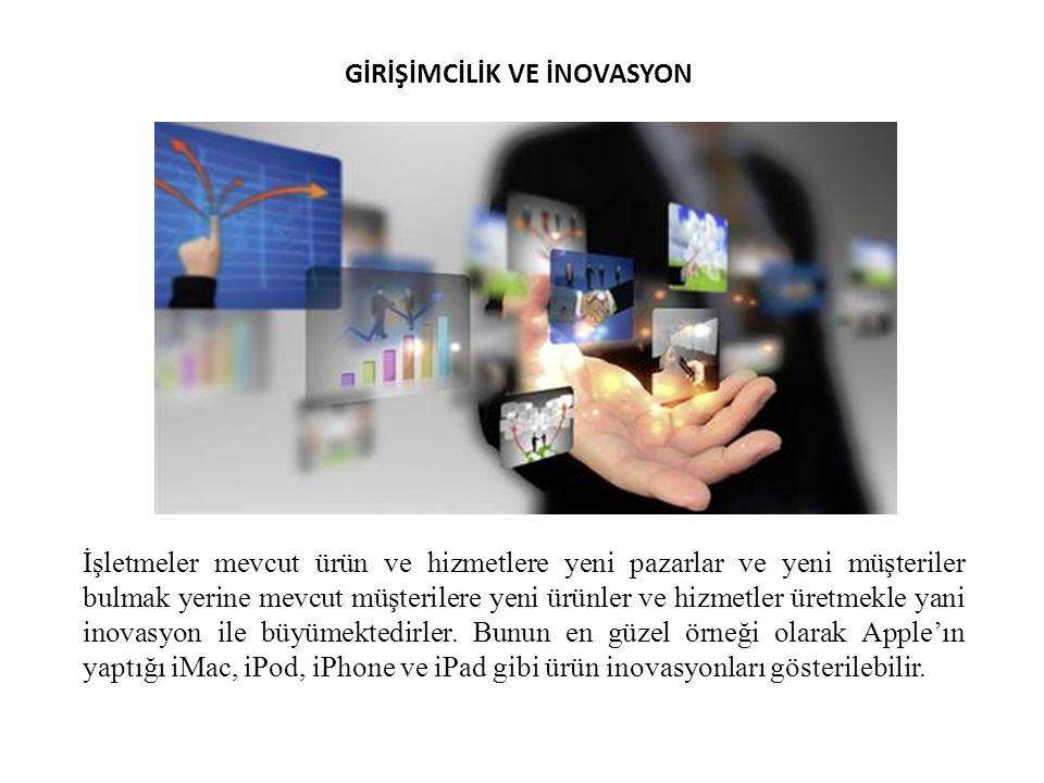 GİRİŞİMCİLİK VE İNOVASYON İşletmeler mevcut ürün ve hizmetlere yeni pazarlar ve yeni müşteriler bulmak yerine mevcut müşterilere yeni ürünler ve hizme