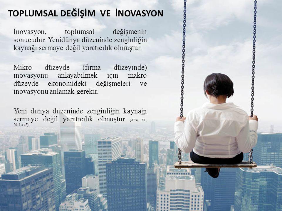 TOPLUMSAL DEĞİŞİM VE İNOVASYON İnovasyon, toplumsal değişmenin sonucudur. Yenidünya düzeninde zenginliğin kaynağı sermaye değil yaratıcılık olmuştur.