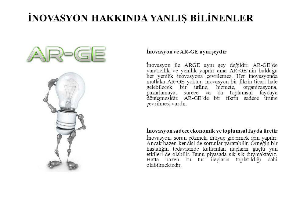 İNOVASYON HAKKINDA YANLIŞ BİLİNENLER İnovasyon ve AR-GE aynı şeydir İnovasyon ile ARGE aynı şey değildir.