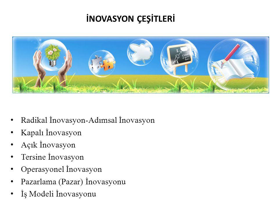 İNOVASYON ÇEŞİTLERİ Radikal İnovasyon-Adımsal İnovasyon Kapalı İnovasyon Açık İnovasyon Tersine İnovasyon Operasyonel İnovasyon Pazarlama (Pazar) İnovasyonu İş Modeli İnovasyonu