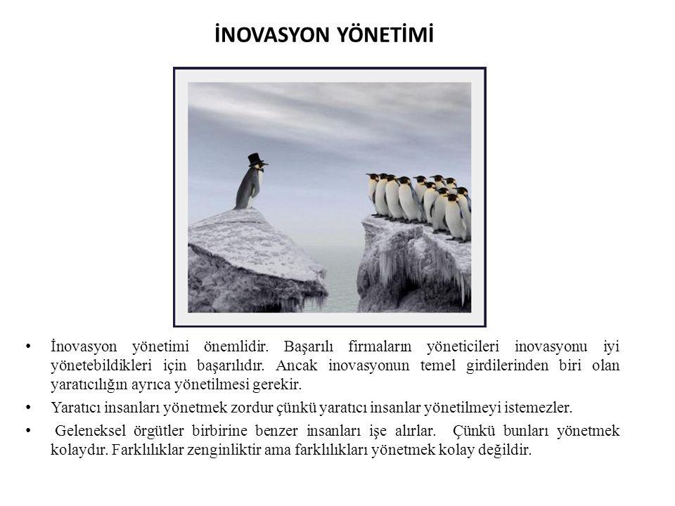 İNOVASYON YÖNETİMİ İnovasyon yönetimi önemlidir. Başarılı firmaların yöneticileri inovasyonu iyi yönetebildikleri için başarılıdır. Ancak inovasyonun