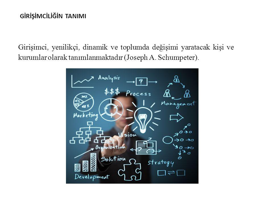 Girişimci, yenilikçi, dinamik ve toplumda değişimi yaratacak kişi ve kurumlar olarak tanımlanmaktadır (Joseph A.