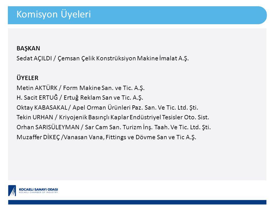 Komisyon Üyeleri BAŞKAN Sedat AÇILDI / Çemsan Çelik Konstrüksiyon Makine İmalat A.Ş.
