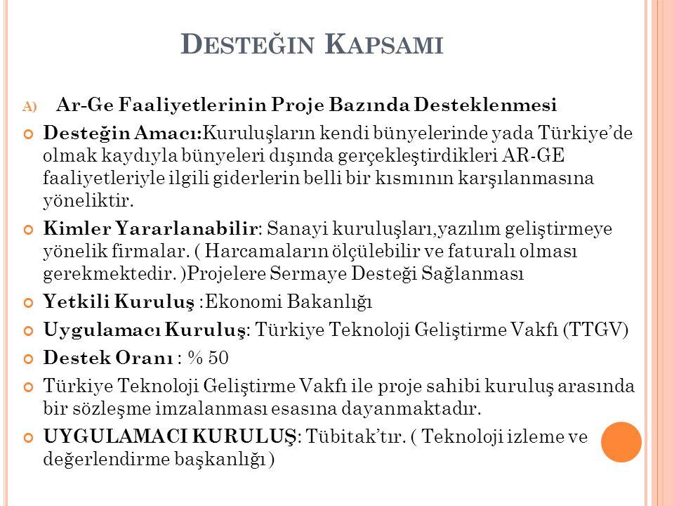 D ESTEĞIN K APSAMI A) Ar-Ge Faaliyetlerinin Proje Bazında Desteklenmesi Desteğin Amacı: Kuruluşların kendi bünyelerinde yada Türkiye'de olmak kaydıyla