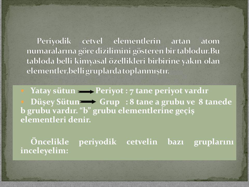 "Yatay sütun Periyot : 7 tane periyot vardır Düşey Sütun Grup : 8 tane a grubu ve 8 tanede b grubu vardır. ""b"" grubu elementlerine geçiş elementleri de"