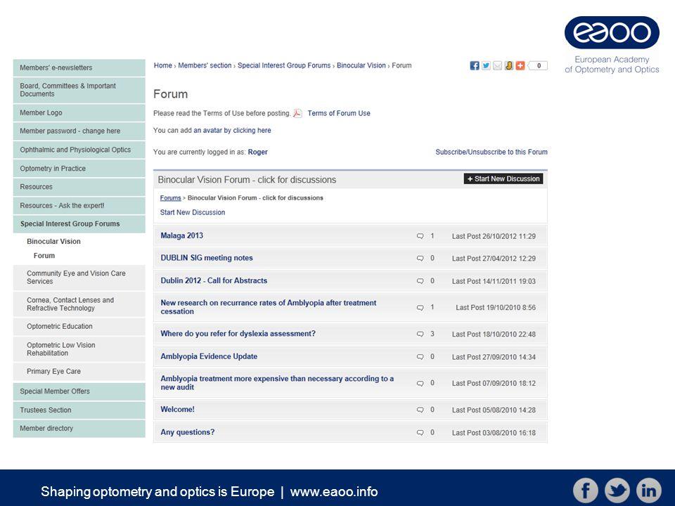 Shaping optometry and optics is Europe   www.eaoo.info