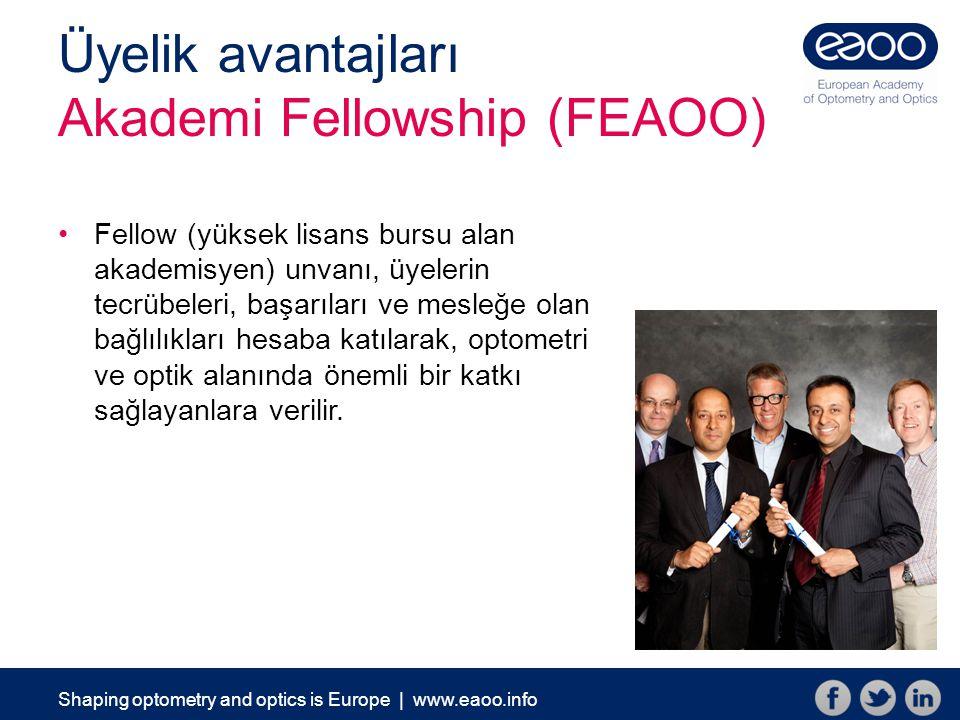 Üyelik avantajları Akademi Fellowship (FEAOO) Fellow (yüksek lisans bursu alan akademisyen) unvanı, üyelerin tecrübeleri, başarıları ve mesleğe olan bağlılıkları hesaba katılarak, optometri ve optik alanında önemli bir katkı sağlayanlara verilir.