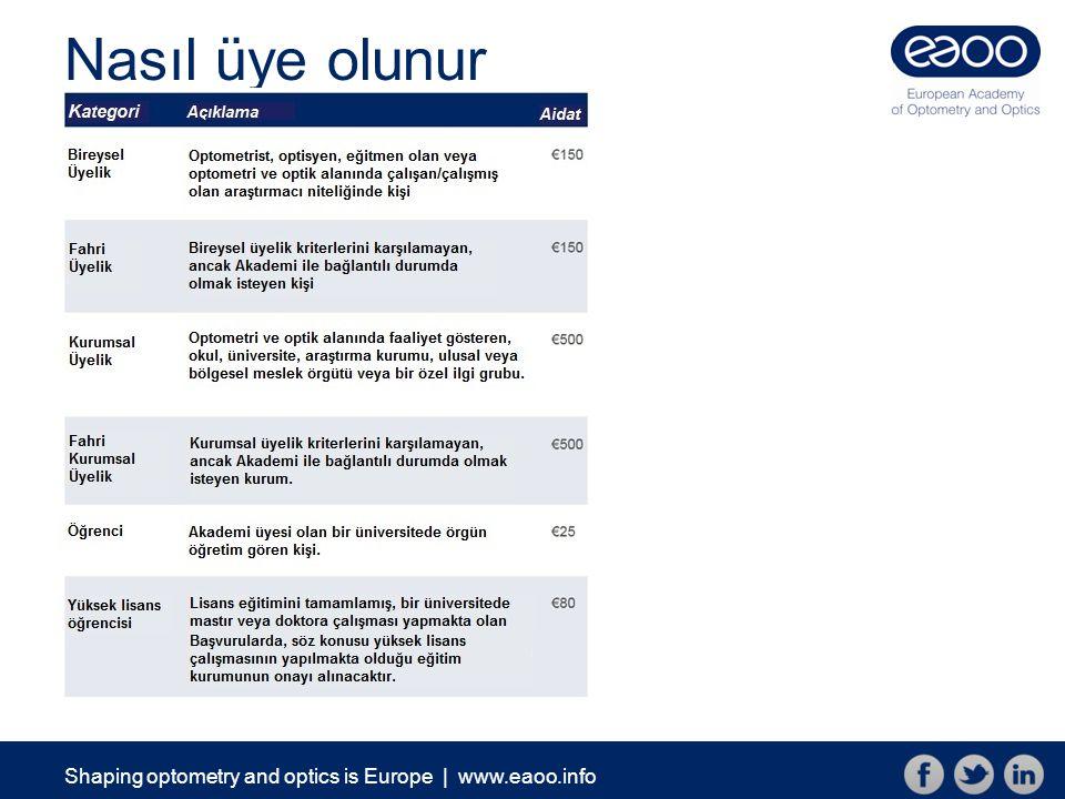 Shaping optometry and optics is Europe   www.eaoo.info Nasıl üye olunur