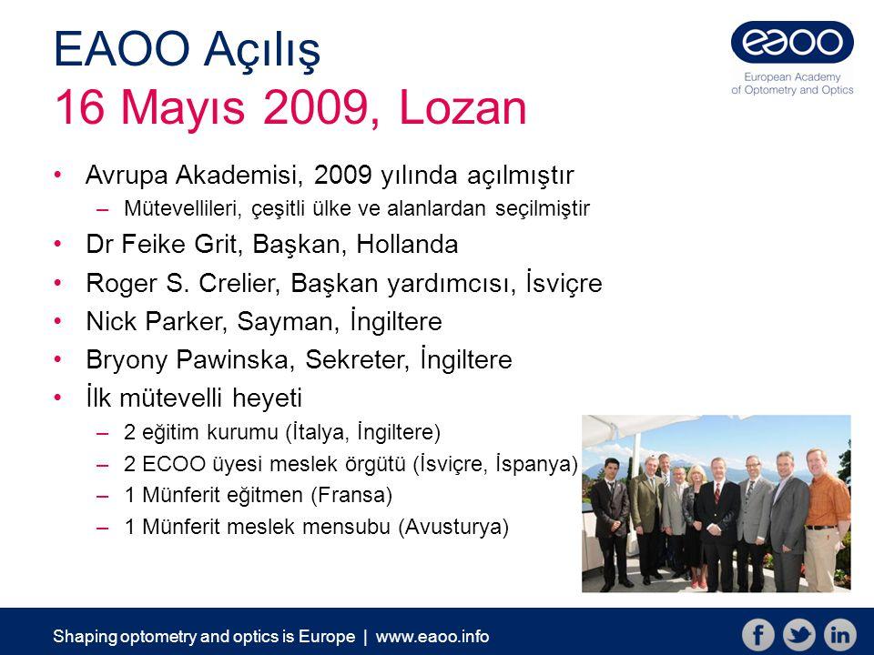 Shaping optometry and optics is Europe | www.eaoo.info EAOO Açılış 16 Mayıs 2009, Lozan Avrupa Akademisi, 2009 yılında açılmıştır –Mütevellileri, çeşitli ülke ve alanlardan seçilmiştir Dr Feike Grit, Başkan, Hollanda Roger S.