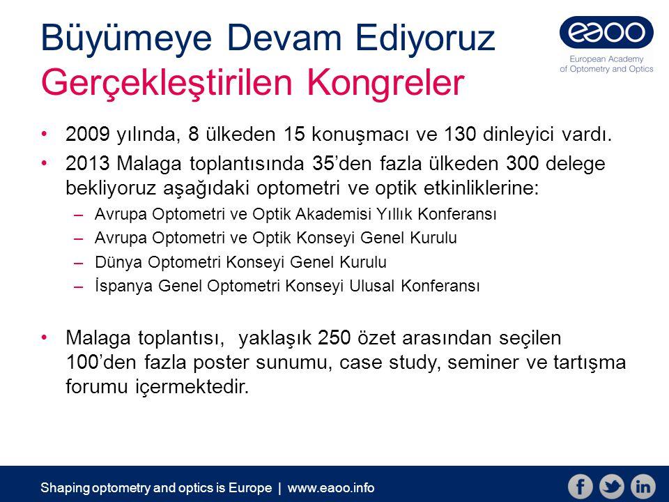 Shaping optometry and optics is Europe | www.eaoo.info Üyelikle ilgili rakamlar Üyelik ve Gelişim 242 bireysel ve fahri üye 73 kurumsal/örgütsel üye 39 lisans öğrencisi 15 yüksek lisans öğrencisi Uzun vadeli bir strateji ile üyeliğin arttırılması planlanmaktadır (Rakamlar: Ocak 2013)