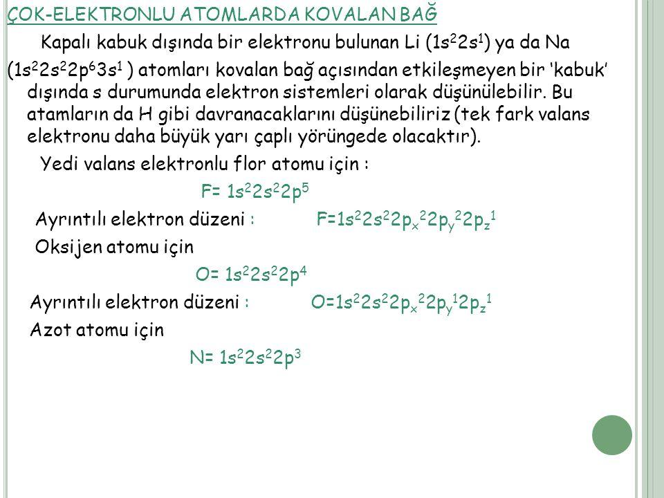 ÇOK-ELEKTRONLU ATOMLARDA KOVALAN BAĞ Kapalı kabuk dışında bir elektronu bulunan Li (1s 2 2s 1 ) ya da Na (1s 2 2s 2 2p 6 3s 1 ) atomları kovalan bağ açısından etkileşmeyen bir 'kabuk' dışında s durumunda elektron sistemleri olarak düşünülebilir.