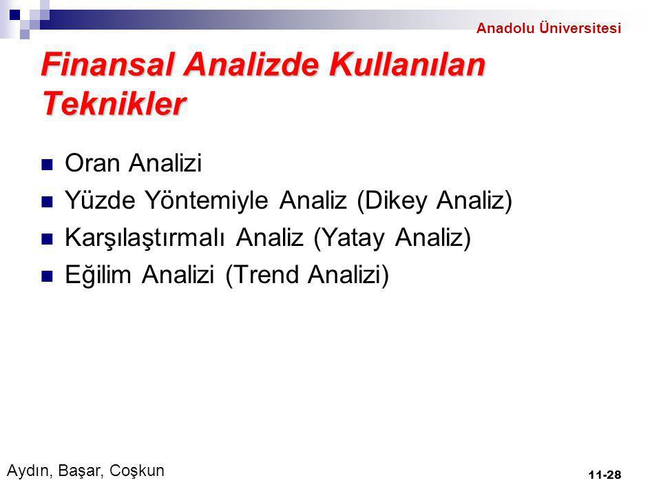 Finansal Analizde Kullanılan Teknikler Oran Analizi Yüzde Yöntemiyle Analiz (Dikey Analiz) Karşılaştırmalı Analiz (Yatay Analiz) Eğilim Analizi (Trend Analizi) 11-28 Aydın, Başar, Coşkun Anadolu Üniversitesi