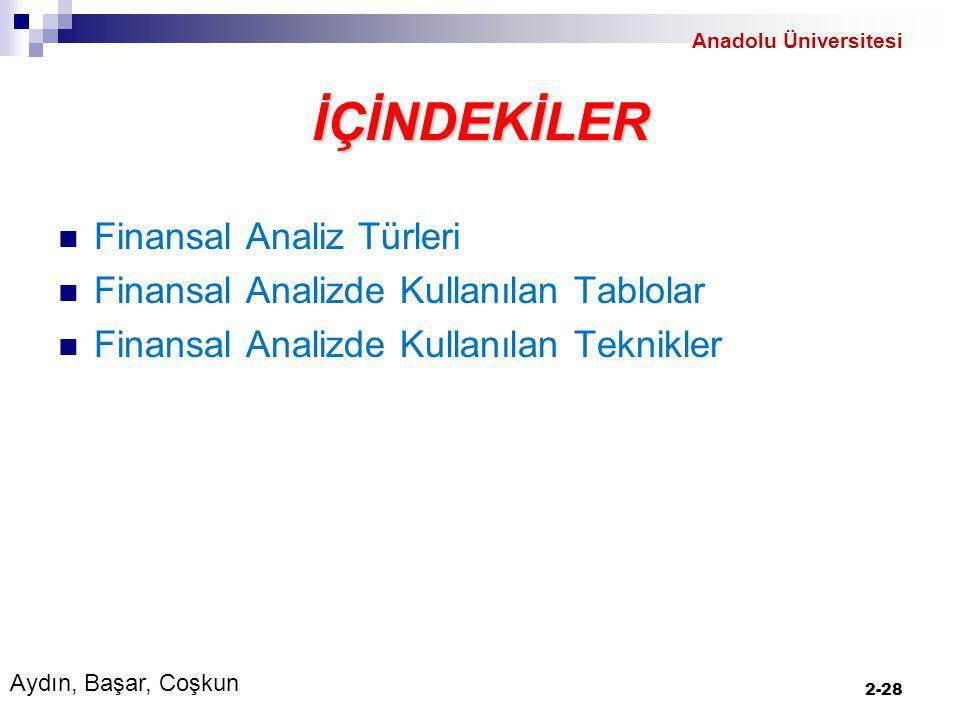 İÇİNDEKİLER Finansal Analiz Türleri Finansal Analizde Kullanılan Tablolar Finansal Analizde Kullanılan Teknikler 2-28 Aydın, Başar, Coşkun Anadolu Üniversitesi