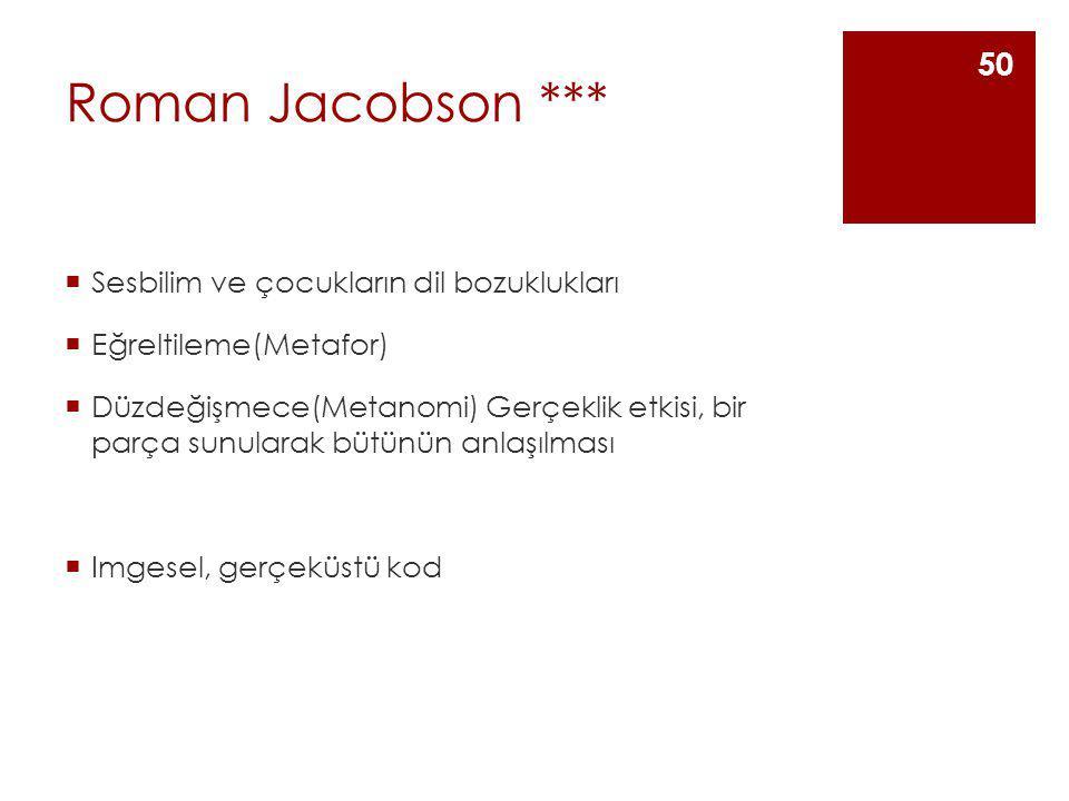 Roman Jacobson ***  Sesbilim ve çocukların dil bozuklukları  Eğreltileme(Metafor)  Düzdeğişmece(Metanomi) Gerçeklik etkisi, bir parça sunularak büt