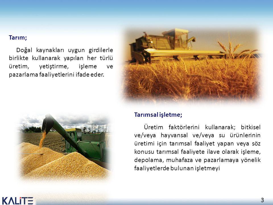 3 Tarım; Doğal kaynakları uygun girdilerle birlikte kullanarak yapılan her türlü üretim, yetiştirme, işleme ve pazarlama faaliyetlerini ifade eder. Ta