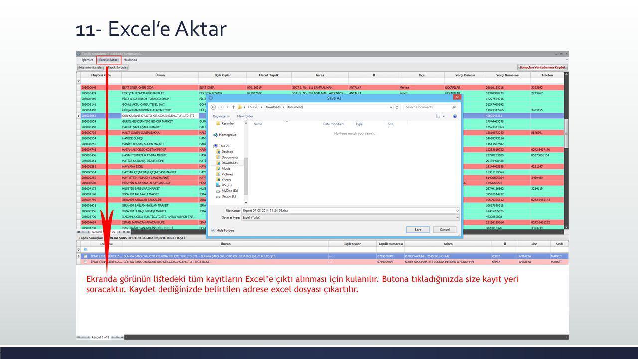 11- Excel'e Aktar