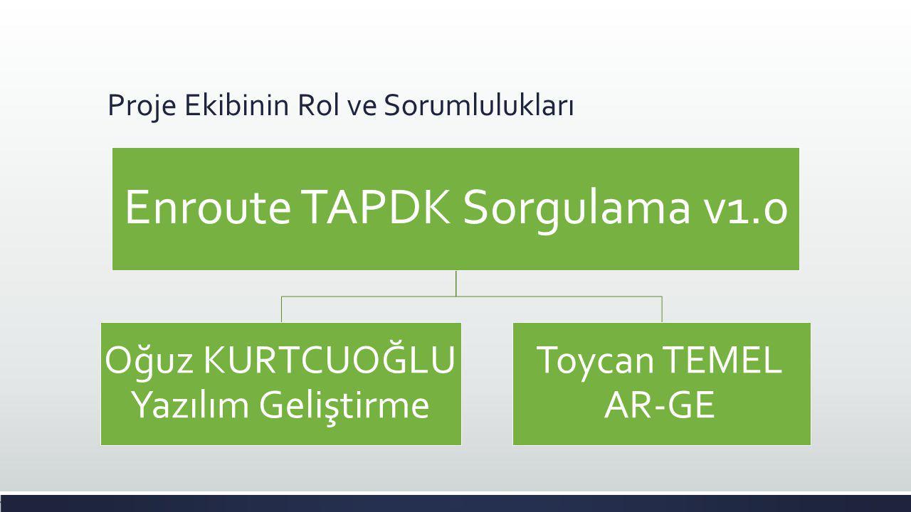 Proje Ekibinin Rol ve Sorumlulukları Enroute TAPDK Sorgulama v1.0 Oğuz KURTCUOĞLU Yazılım Geliştirme Toycan TEMEL AR-GE