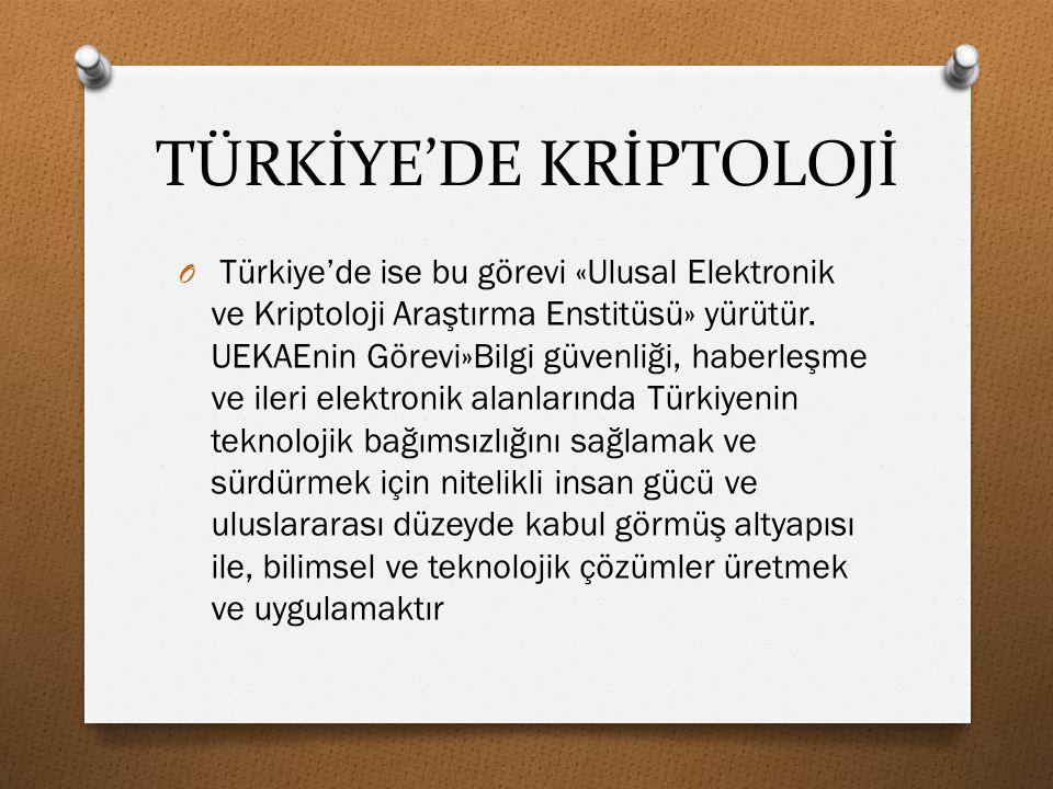 TÜRKİYE'DE KRİPTOLOJİ O Türkiye'de ise bu görevi «Ulusal Elektronik ve Kriptoloji Araştırma Enstitüsü» yürütür. UEKAEnin Görevi»Bilgi güvenliği, haber