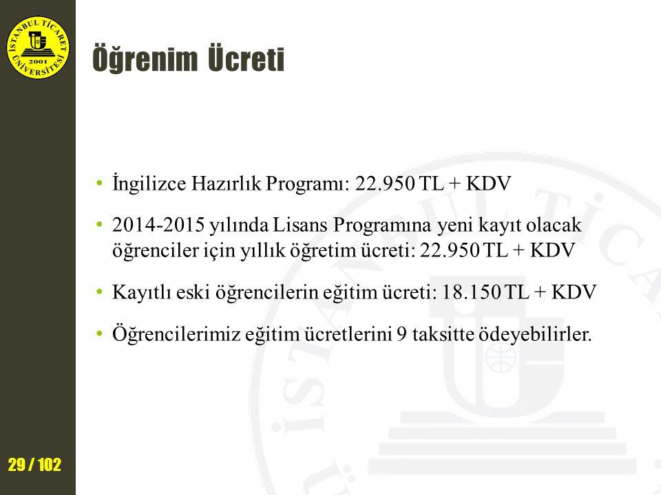 29 / 102 Öğrenim Ücreti İngilizce Hazırlık Programı: 22.950 TL + KDV 2014-2015 yılında Lisans Programına yeni kayıt olacak öğrenciler için yıllık öğretim ücreti: 22.950 TL + KDV Kayıtlı eski öğrencilerin eğitim ücreti: 18.150 TL + KDV Öğrencilerimiz eğitim ücretlerini 9 taksitte ödeyebilirler.