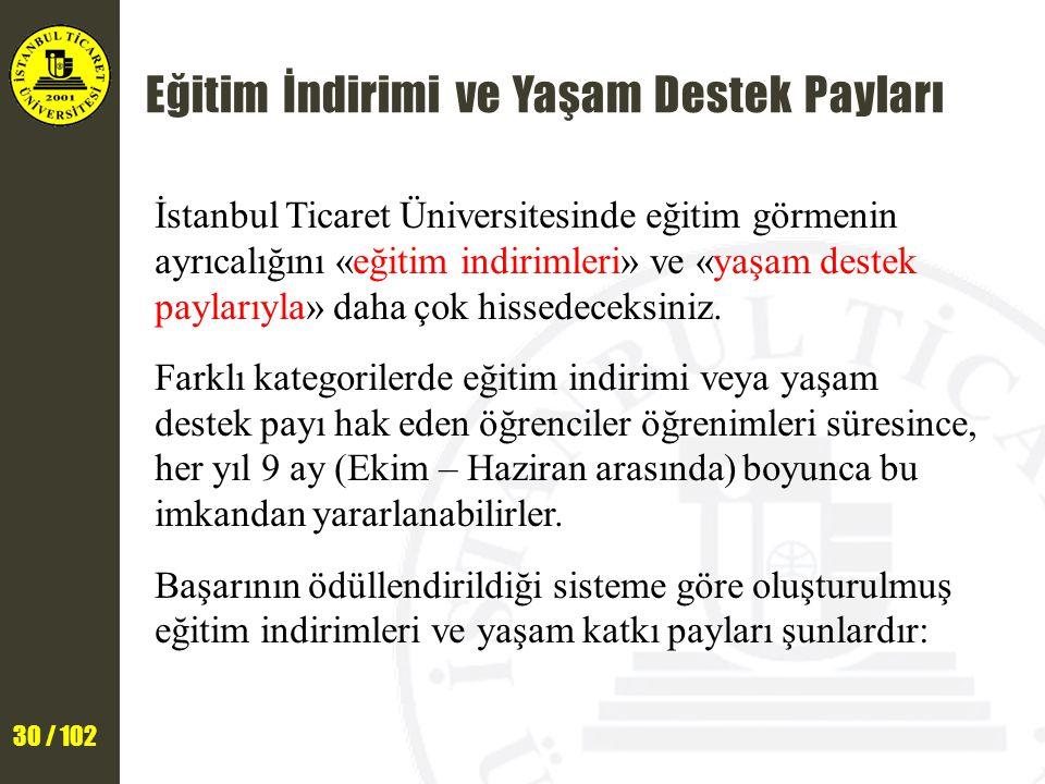 30 / 102 Eğitim İndirimi ve Yaşam Destek Payları İstanbul Ticaret Üniversitesinde eğitim görmenin ayrıcalığını «eğitim indirimleri» ve «yaşam destek paylarıyla» daha çok hissedeceksiniz.