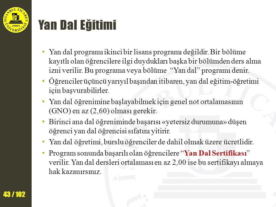 43 / 102 Yan Dal Eğitimi Yan dal programı ikinci bir lisans programı değildir.