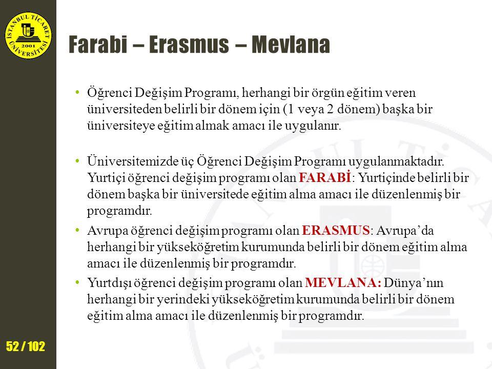 52 / 102 Farabi – Erasmus – Mevlana Öğrenci Değişim Programı, herhangi bir örgün eğitim veren üniversiteden belirli bir dönem için (1 veya 2 dönem) başka bir üniversiteye eğitim almak amacı ile uygulanır.