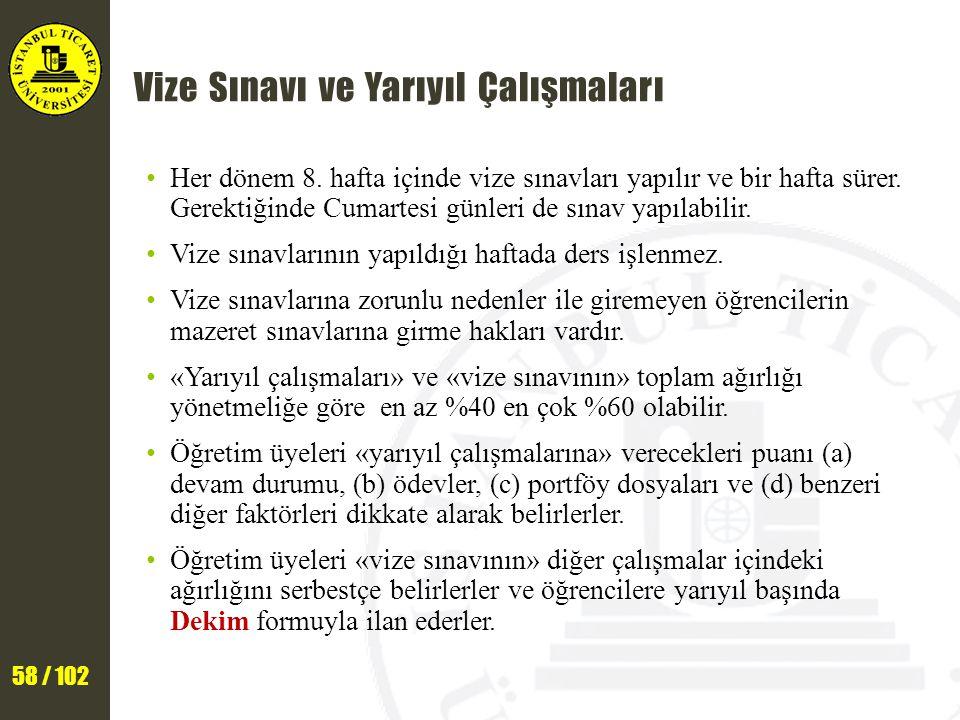 58 / 102 Vize Sınavı ve Yarıyıl Çalışmaları Her dönem 8.