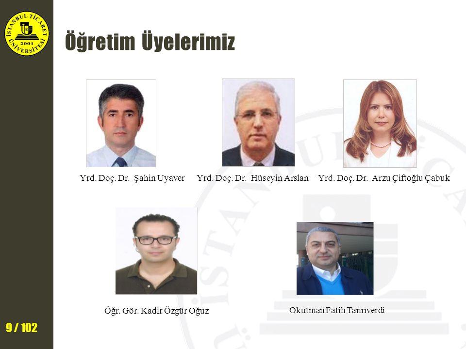 9 / 102 Yrd.Doç. Dr. Hüseyin Arslan Yrd. Doç. Dr.