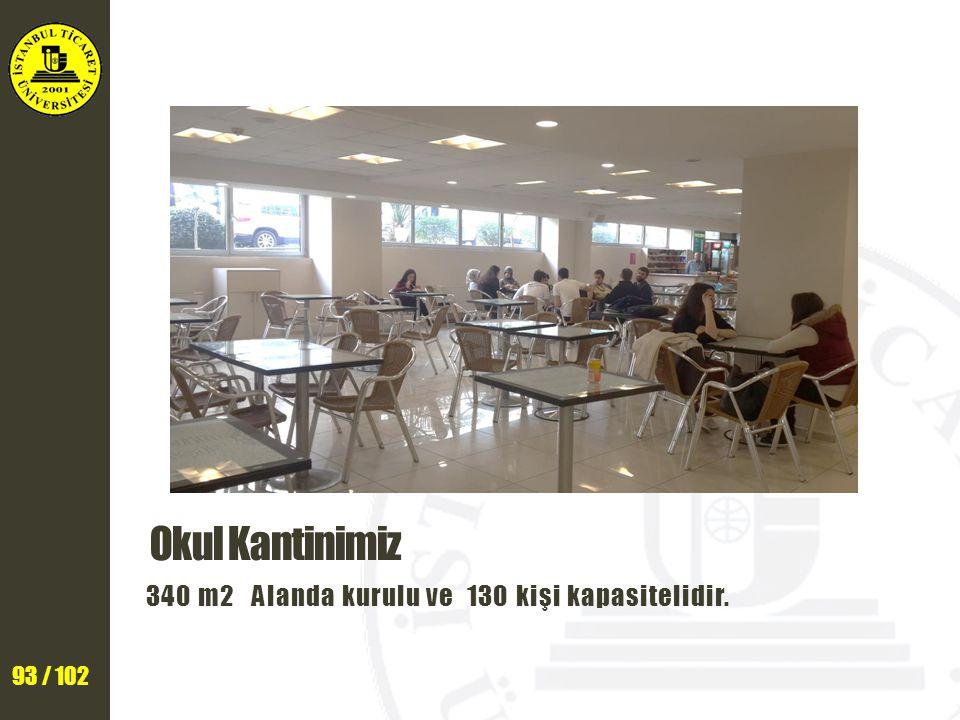 93 / 102 Okul Kantinimiz 340 m2 Alanda kurulu ve 130 kişi kapasitelidir.