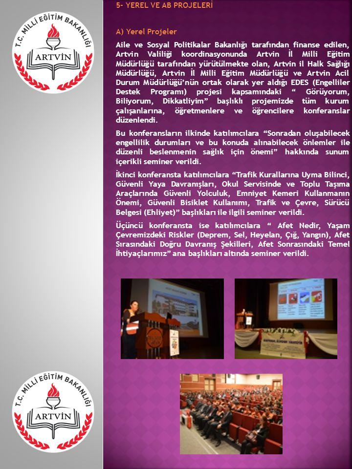 B) AB Projeleri Milli Eğitim Bakanlığı ve Avrupa Birliği işbirliğiyle düzenlenen Leonardo Da Vinci programı IVT projeleri kapsamında Artvin Ticaret ve Meslek Lisesi ve Borçka Ticaret Meslek Lisesi ortaklığında 2013 yılında Muhasebe - Finansman alanında Avrupa' da Mesleki Eğitim konulu AB projesi gerçekleştirilmiştir.
