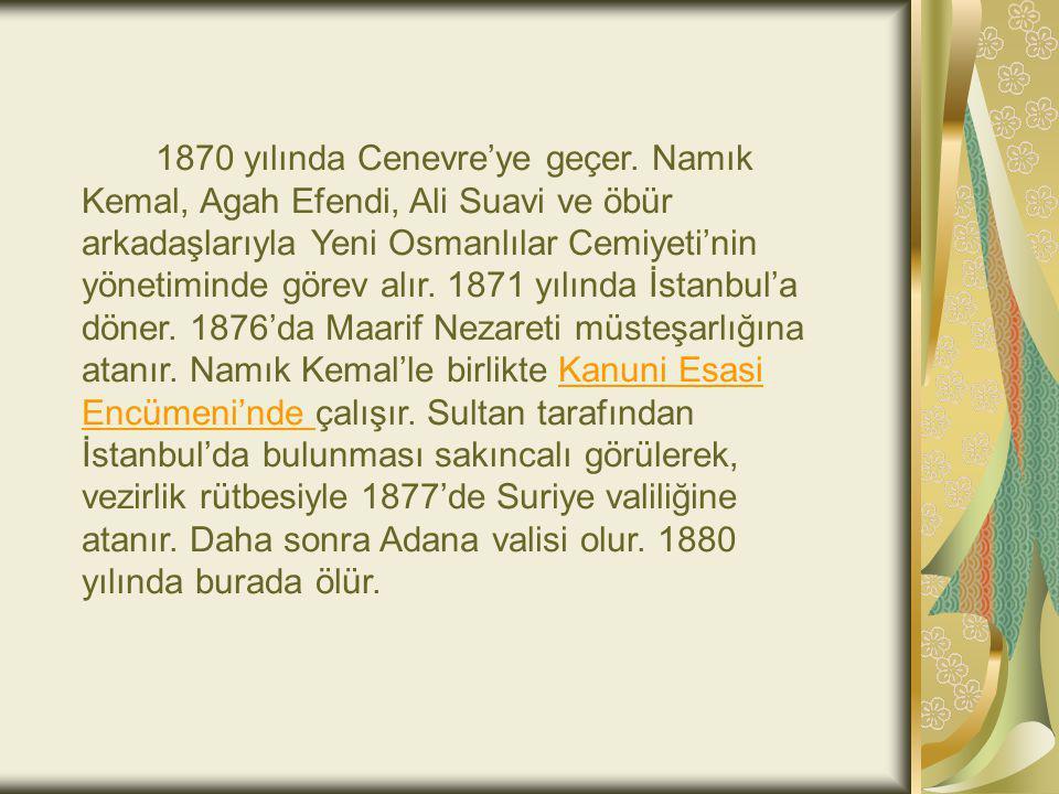 1870 yılında Cenevre'ye geçer. Namık Kemal, Agah Efendi, Ali Suavi ve öbür arkadaşlarıyla Yeni Osmanlılar Cemiyeti'nin yönetiminde görev alır. 1871 yı