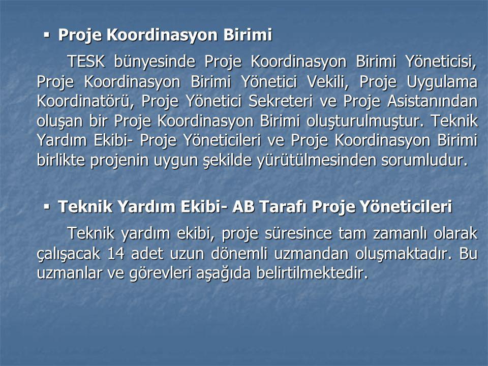  Proje Koordinasyon Birimi TESK bünyesinde Proje Koordinasyon Birimi Yöneticisi, Proje Koordinasyon Birimi Yönetici Vekili, Proje Uygulama Koordinatö