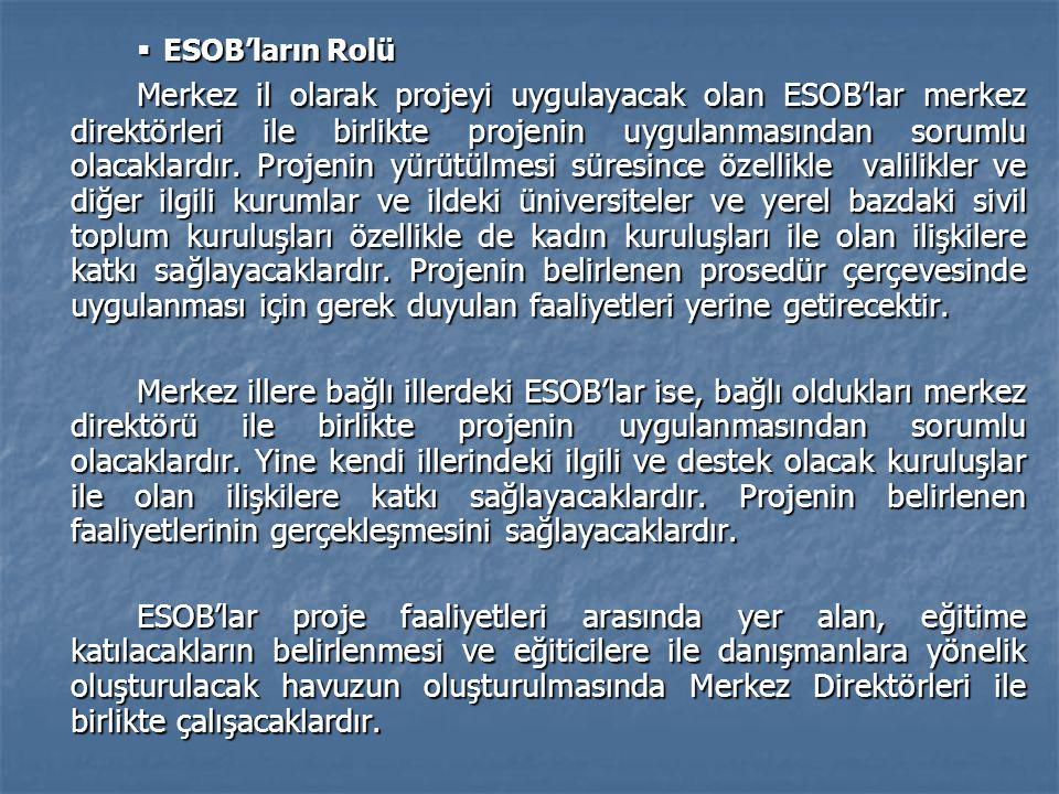  ESOB'ların Rolü Merkez il olarak projeyi uygulayacak olan ESOB'lar merkez direktörleri ile birlikte projenin uygulanmasından sorumlu olacaklardır. P