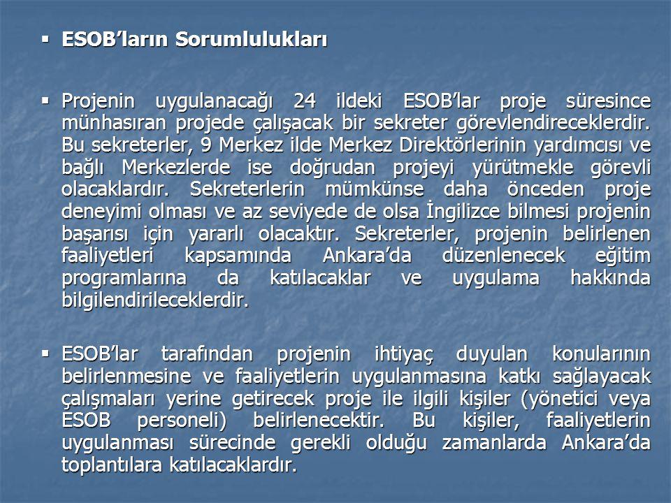  ESOB'ların Sorumlulukları  Projenin uygulanacağı 24 ildeki ESOB'lar proje süresince münhasıran projede çalışacak bir sekreter görevlendireceklerdir