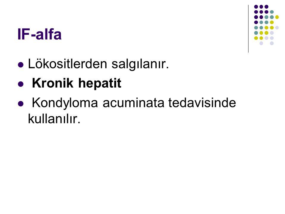 IF-alfa Lökositlerden salgılanır. Kronik hepatit Kondyloma acuminata tedavisinde kullanılır.