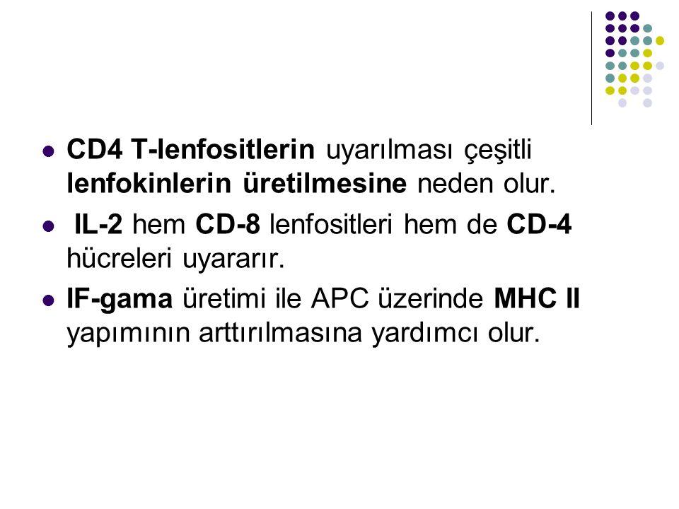 CD4 T-lenfositlerin uyarılması çeşitli lenfokinlerin üretilmesine neden olur. IL-2 hem CD-8 lenfositleri hem de CD-4 hücreleri uyararır. IF-gama üreti