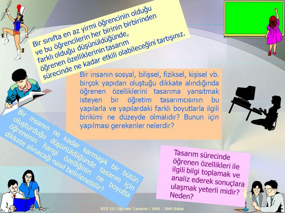 BTÖ 212 Öğretim Tasarımı / 2008 - 2009 Bahar2 Tasarım sürecinde öğrenen özellikleri ile ilgili bilgi toplamak ve analiz ederek sonuçlara ulaşmak yeter