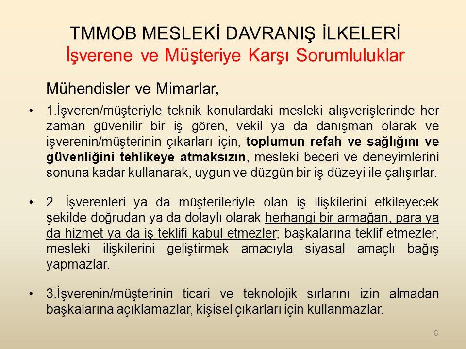 TMMOB MESLEKİ DAVRANIŞ İLKELERİ Mesleğe ve Meslektaşa Karşı Sorumluluklar Mühendisler ve Mimarlar, 1.