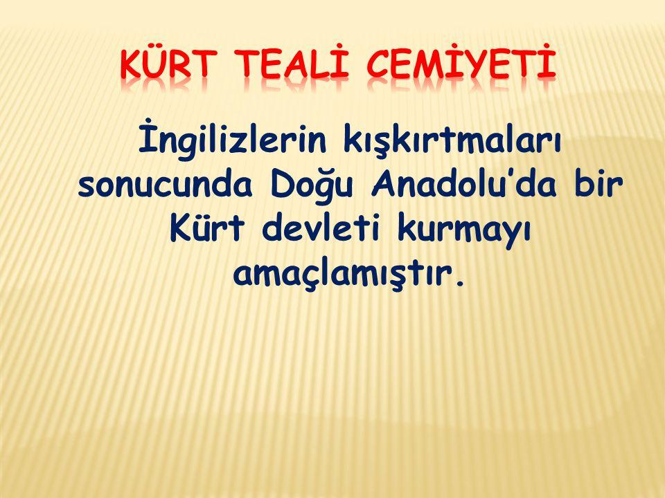İngilizlerin kışkırtmaları sonucunda Doğu Anadolu'da bir Kürt devleti kurmayı amaçlamıştır.