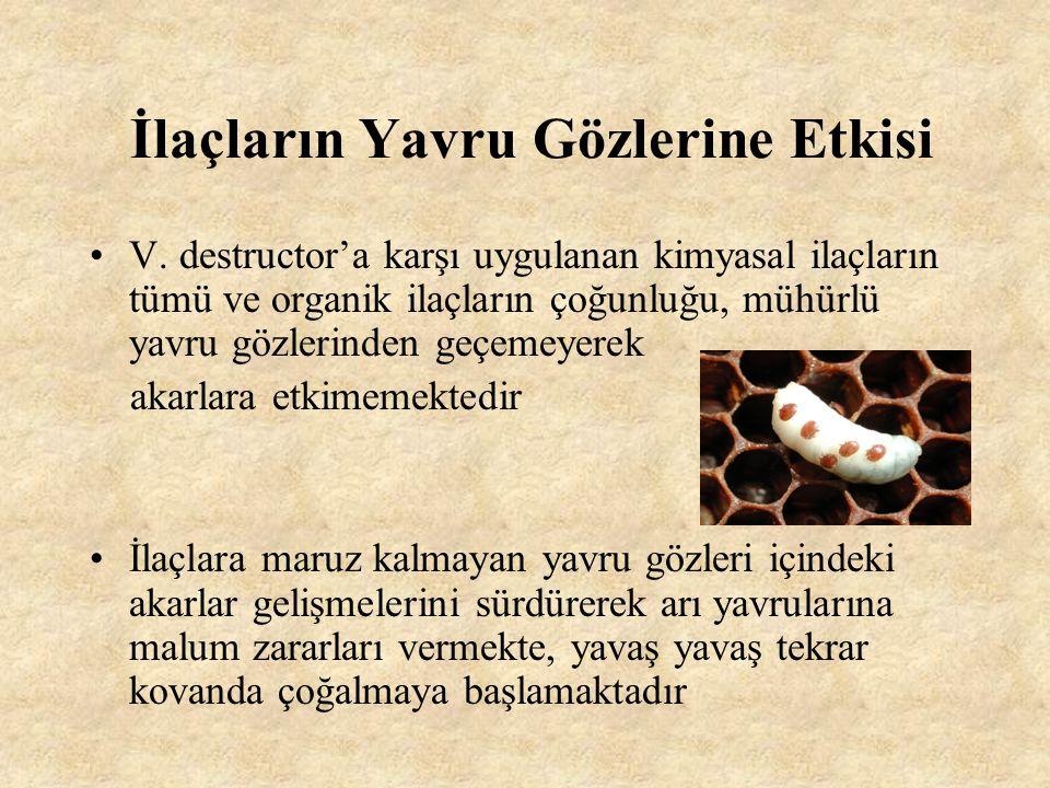 İlaçlara Karşı Parazit Direnci Apis mellifera bilinen Varroa genotiplerinin % 90'ına % 100 oranında direnç göstermektedir.