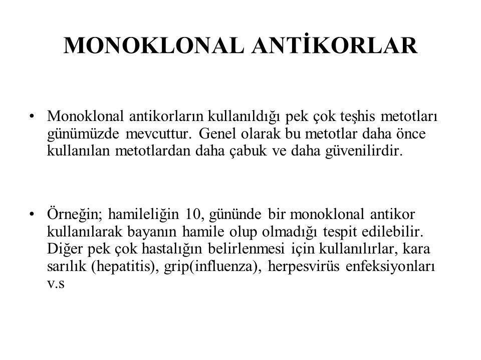 MONOKLONAL ANTİKORLAR Monoklonal antikorların kullanıldığı pek çok teşhis metotları günümüzde mevcuttur. Genel olarak bu metotlar daha önce kullanılan