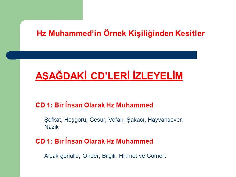 Hz Muhammed'in Örnek Kişiliğinden Kesitler AŞAĞDAKİ CD'LERİ İZLEYELİM CD 1: Bir İnsan Olarak Hz Muhammed Şefkat, Hoşgörü, Cesur, Vefalı, Şakacı, Hayva