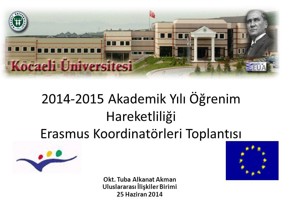 2014-2015 Akademik Yılı Öğrenim Hareketliliği Erasmus Koordinatörleri Toplantısı Okt. Tuba Alkanat Akman Uluslararası İlişkiler Birimi 25 Haziran 2014