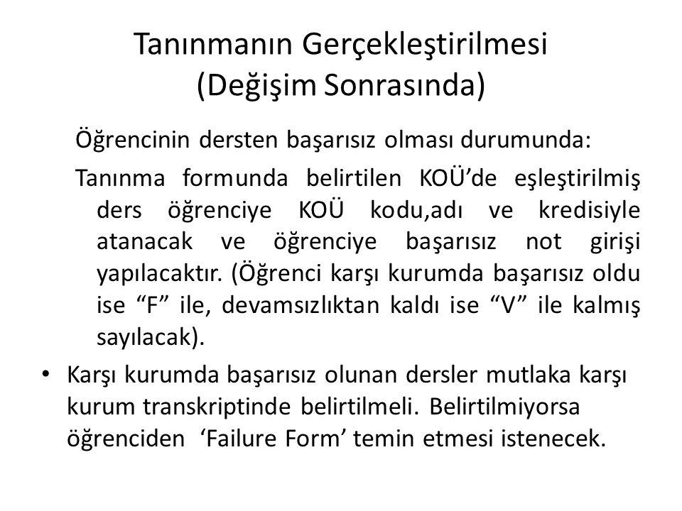 Tanınmanın Gerçekleştirilmesi (Değişim Sonrasında) Öğrencinin dersten başarısız olması durumunda: Tanınma formunda belirtilen KOÜ'de eşleştirilmiş der